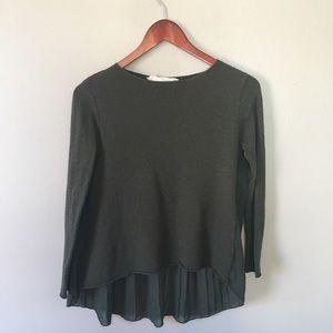 Zara Dark Green Sweater | Sheer Back | Hi-Lo | S